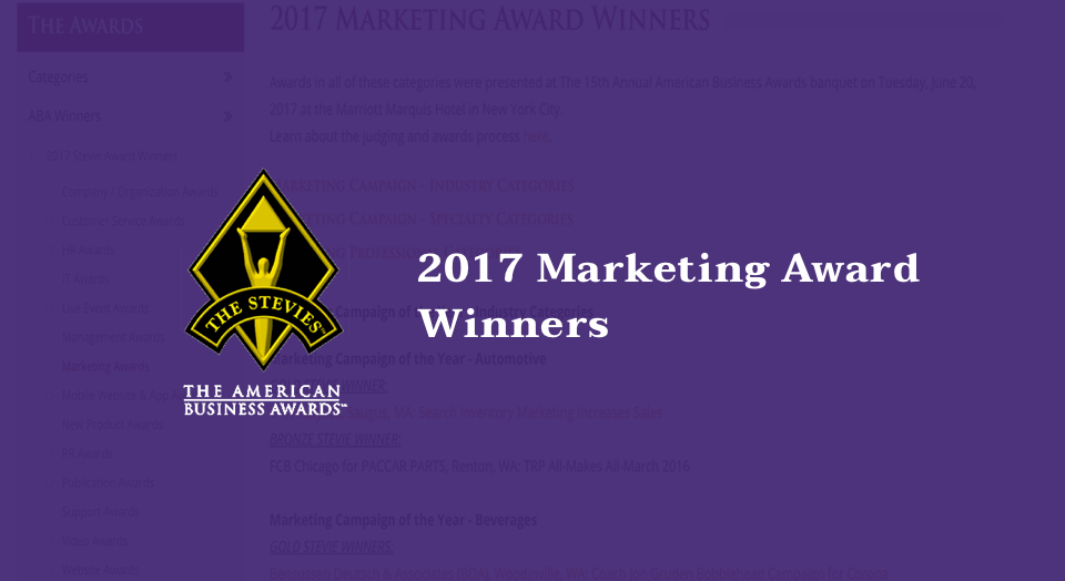 ABA 2017 Marketing Award Winners