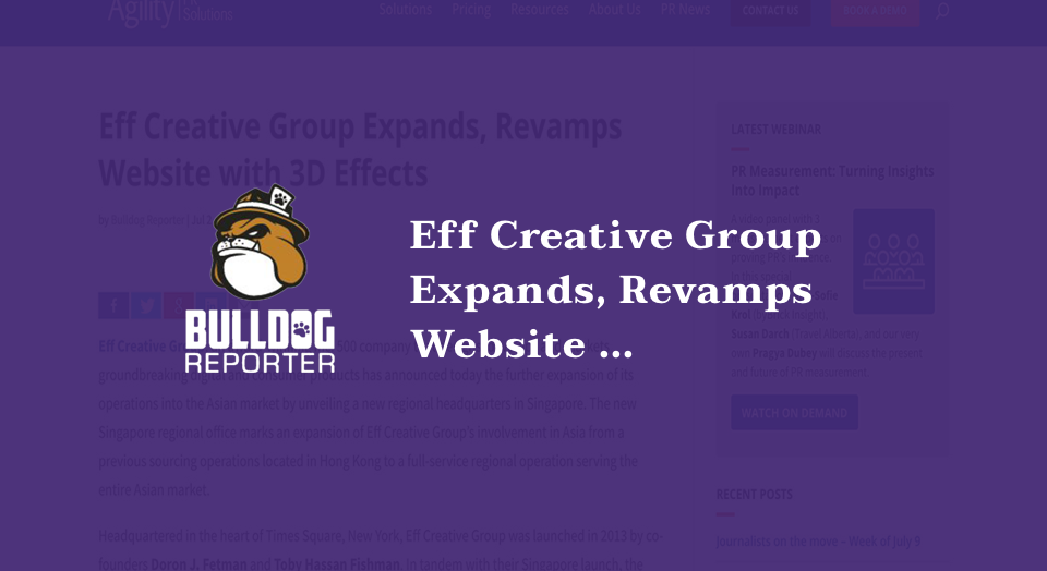 Eff Creative Group Expands, Revamps Website with 3D Effects
