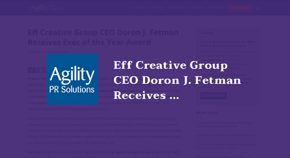Eff Creative Group CEO Doron J. Fetman Receives Exec of the Year Award