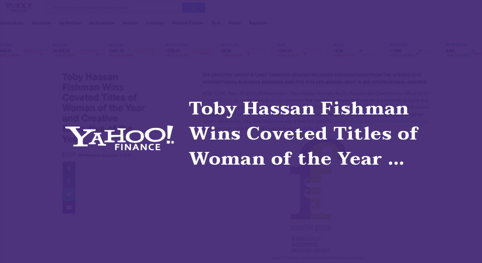 Toby Hassan Fishman Wins Coveted Titles of Woman of the Year and Creative Executive of the Year