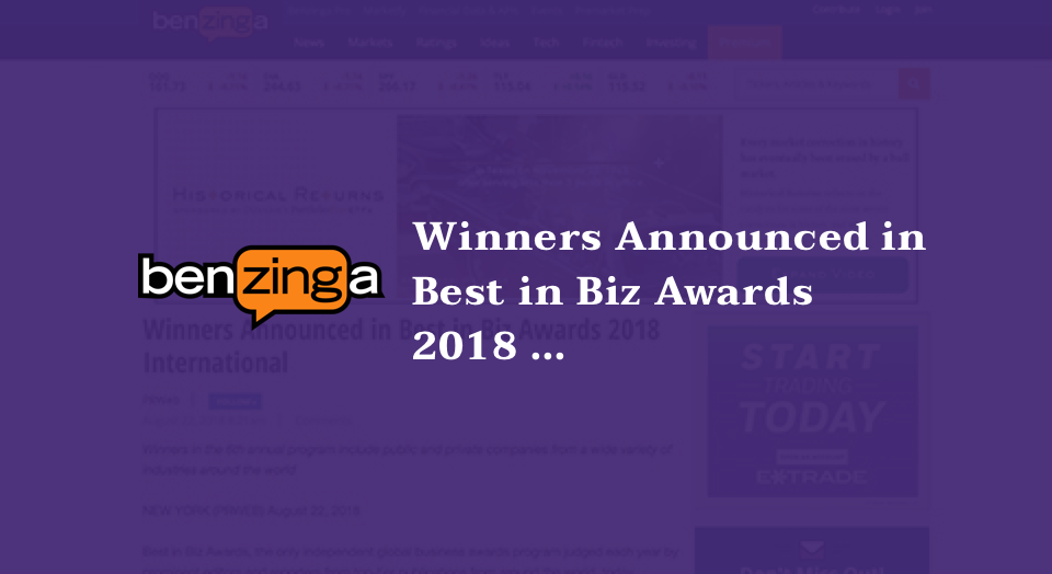 Winners Announced in Best in Biz Awards 2018 International