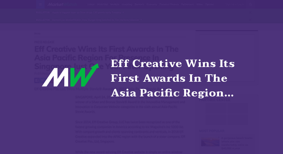 Eff Creative Wins Its First Awards In The Asia Pacific Region For Presence In Singapore Just One Year After Opening