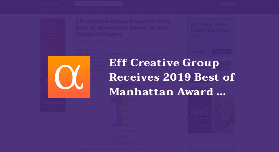 Eff Creative Group Receives 2019 Best of Manhattan Award in Web Design Category