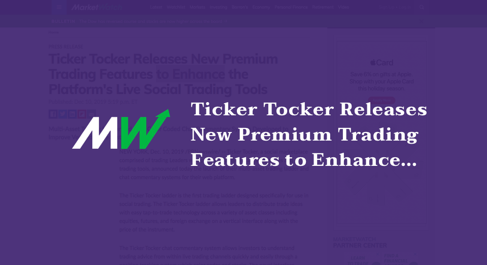 Ticker Tocker Releases New Premium Trading Features to Enhance the Platform's Live Social Trading Tools