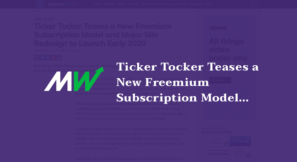 Ticker Tocker Teases a New Freemium Subscription Model and Major Site Redesign to Launch Early 2020