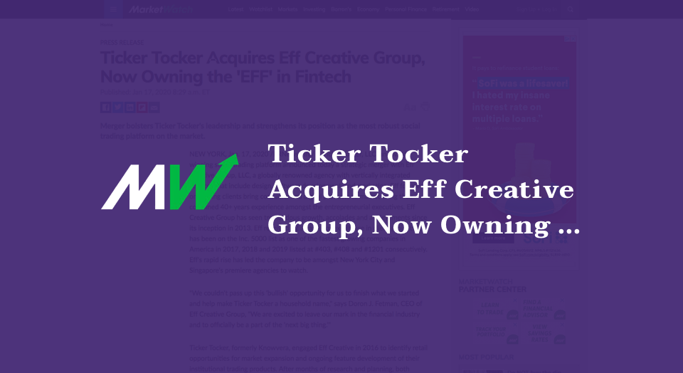 Ticker Tocker Acquires Eff Creative Group, Now Owning the'EFF' in Fintech